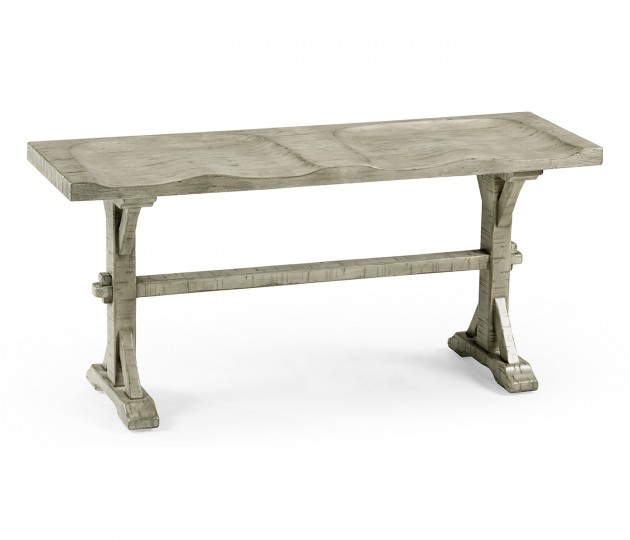 Narrow Rustic Grey Topped Bench