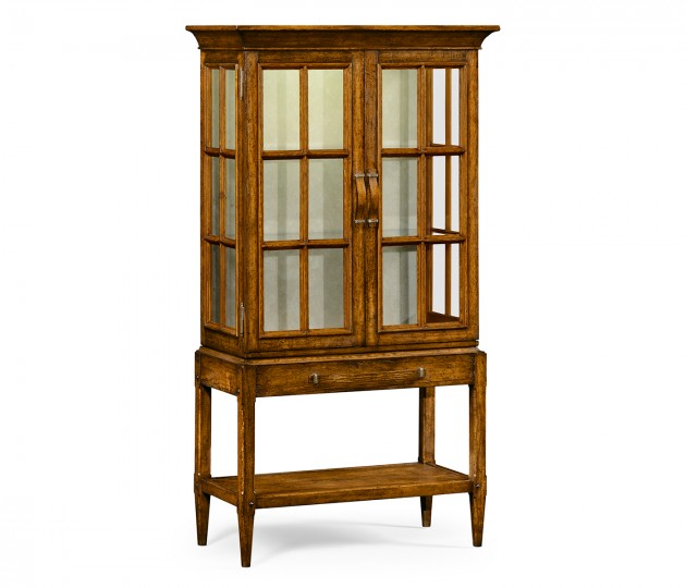 Country Walnut Glazed Display Cabinet with Strap Handles