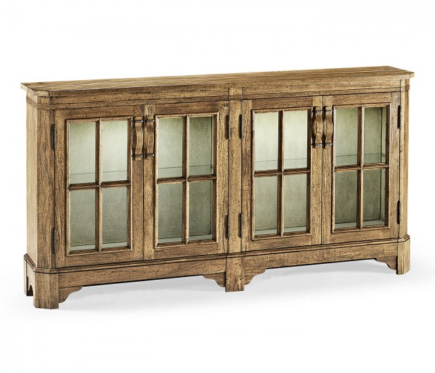 Medium Driftwood Parquet Welsh Bookcase with Strap Handles