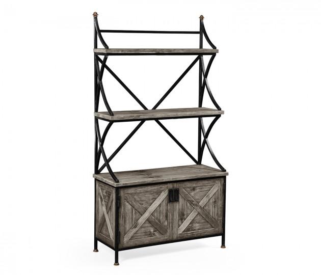 Antique Grey Baker's Rack Étagère
