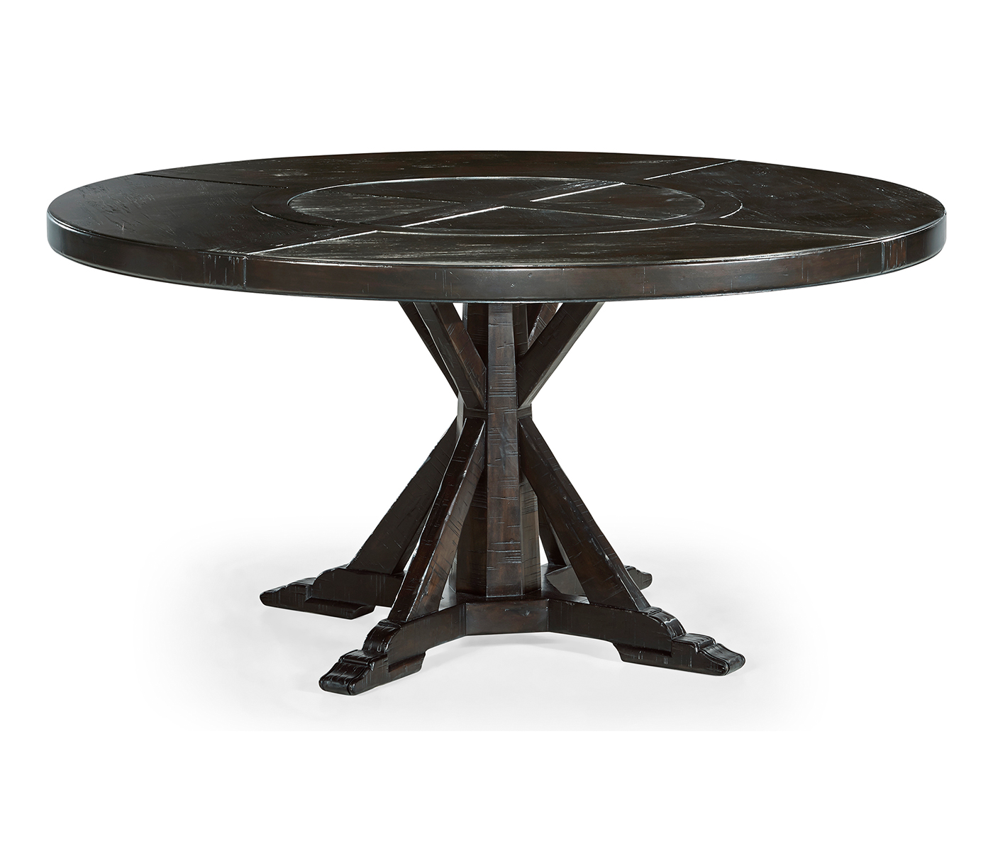 60 Dark Ale Round Dining Table With Inbuilt Lazy Susan