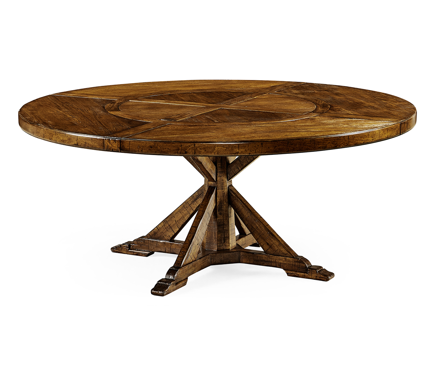 72 Country Walnut Round Dining Table With Inbuilt Lazy Susan