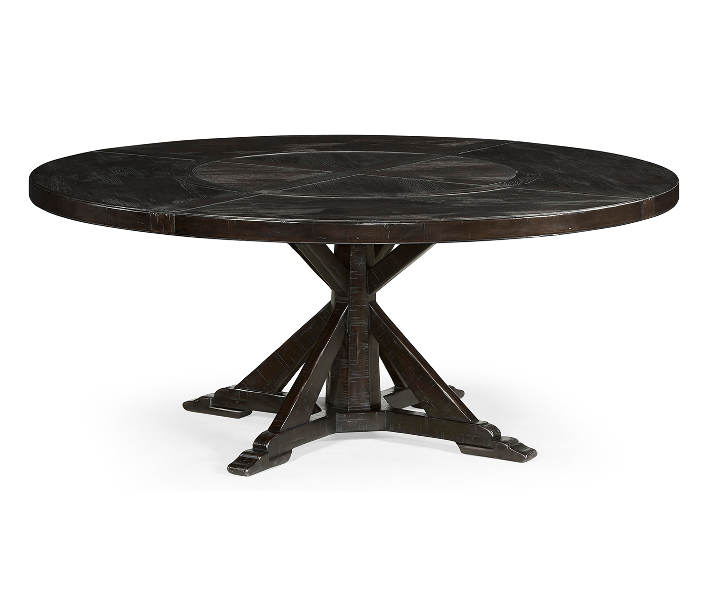 72 Dark Ale Round Dining Table With Inbuilt Lazy Susan