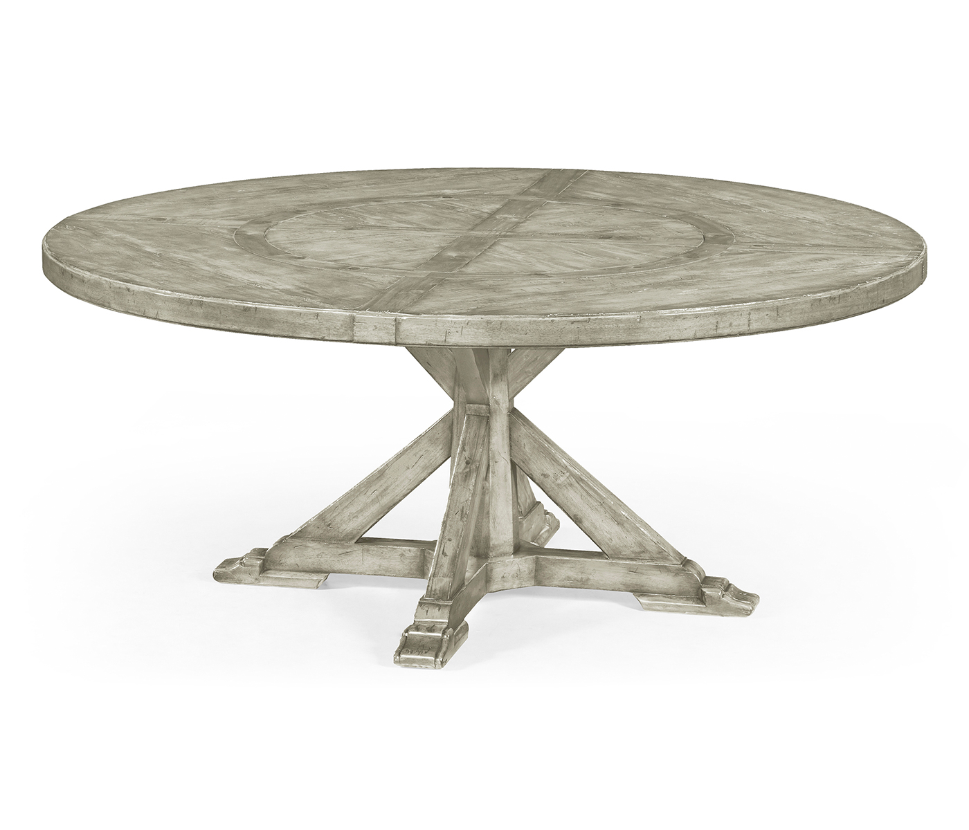 72 Rustic Grey Round Dining Table With Inbuilt Lazy Susan