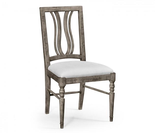 Antique Dark Grey Curved Back Side Chair, Upholstered in COM