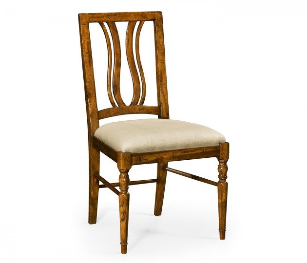 Country Walnut Curved Back Side Chair, Upholstered Seat in MAZO
