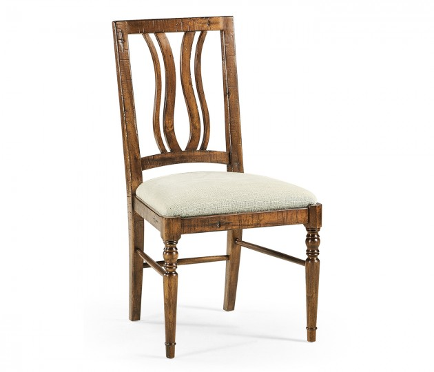 Country Walnut Curved Back Side Chair, Upholstered Seat in Shambala