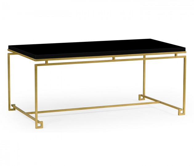 Gilded Iron Rectangular Coffee Table with Smoky Black Top