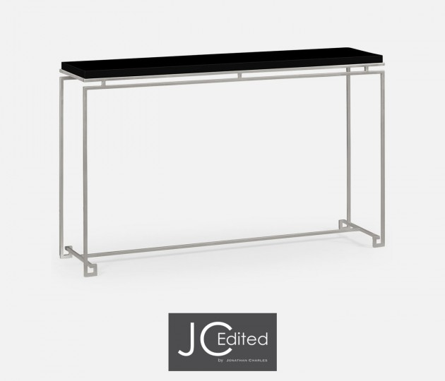Silver Iron Large Console Table with Smoky Black Top