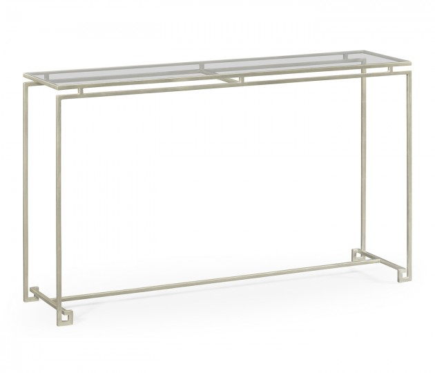 Silver Iron Large Console Table with A Clear Glass Top