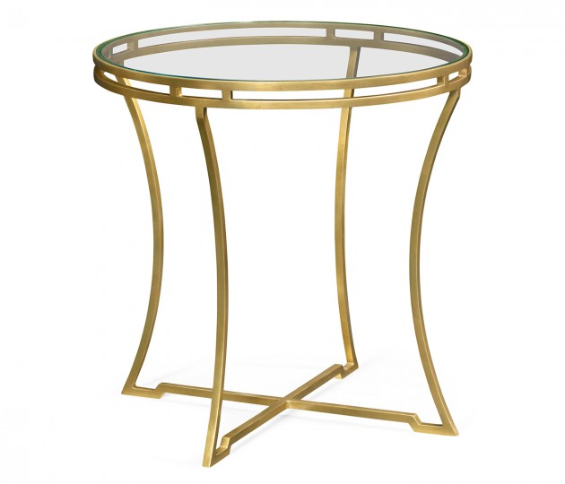 Gilded Iron Round Side Table with Clear Glass Top