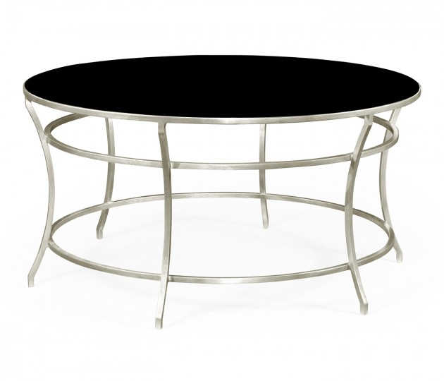 Silver Round Iron Coffee Table with Black Glass Top