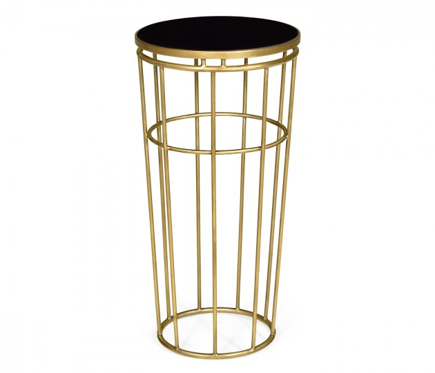 Gilded Iron Round End Table with Black Glass Top