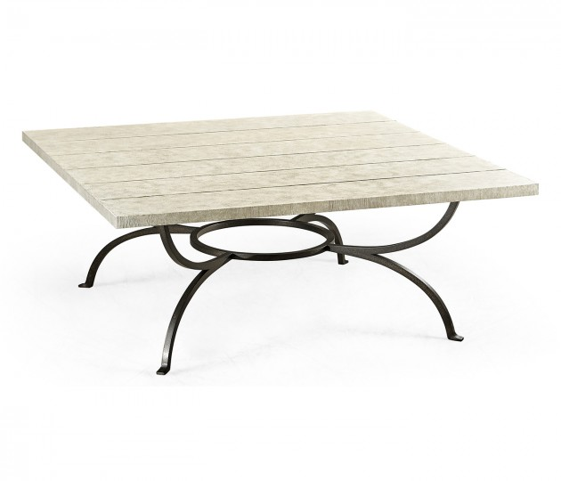 Whitewash Driftwood Panelled Square Coffee Table