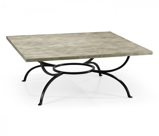 Rustic Grey Panelled Square Coffee Table