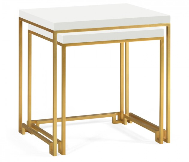Gilded Iron Nesting Table with Biancaneve Top