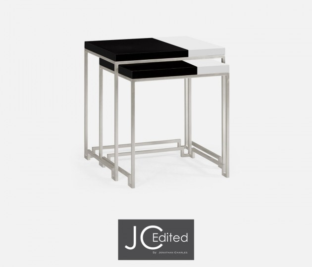 Silver Iron Nesting Table with Smoky Black and Biancaneve Top
