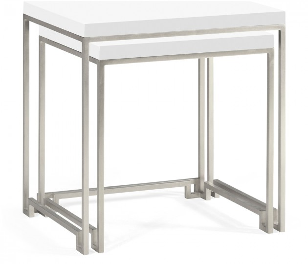 Silver Iron Nesting Table with Biancaneve Top