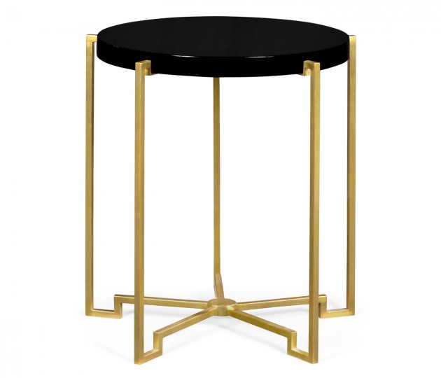 Gilded Iron Round Lamp Table with Smoky Black Top