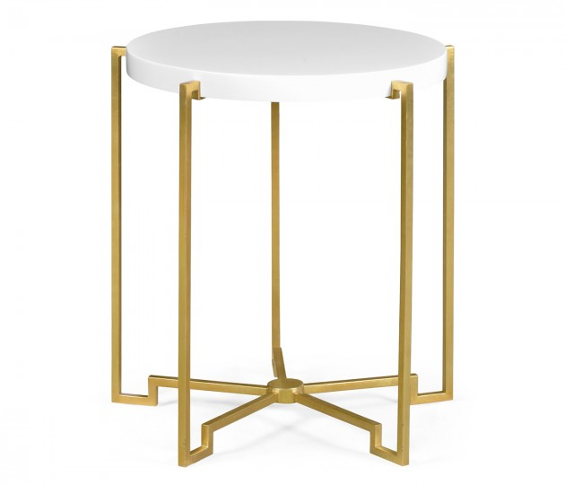 Gilded Iron Round Lamp Table with Biancaneve Top