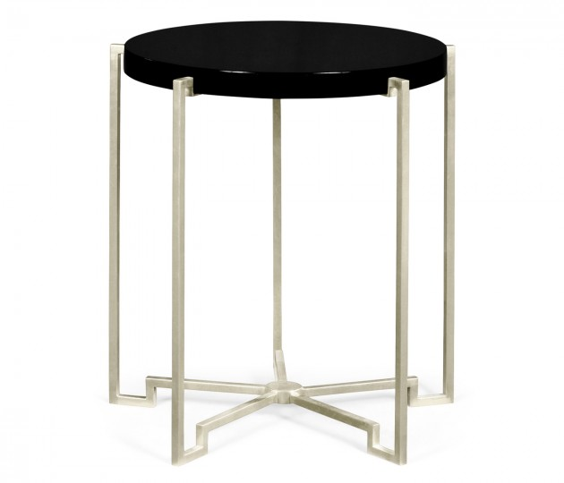 Silver Iron Round Lamp Table with Smoky Black Top