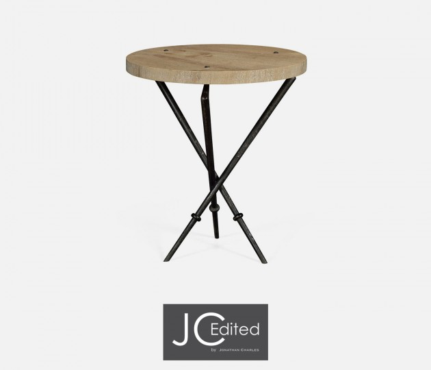 Round Lamp Table with Iron Base