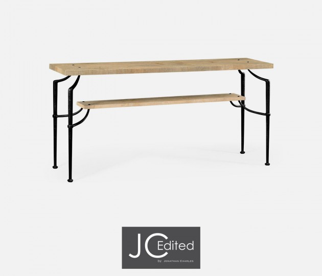 Rectangular Console Table with Iron Base