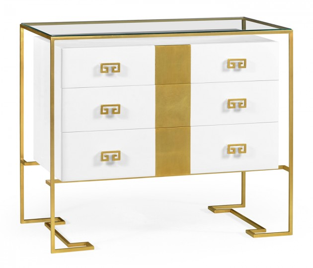 Gilded Iron Chest of Drawers in Biancaneve