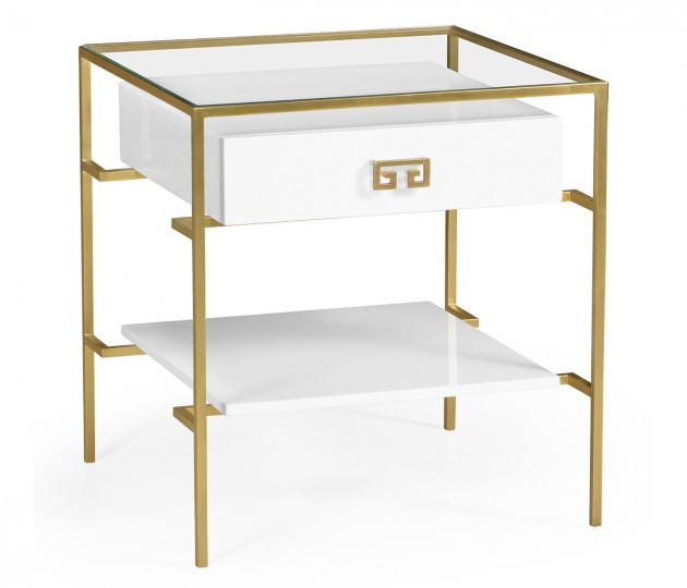 Gilded Iron Side Table in Biancaneve