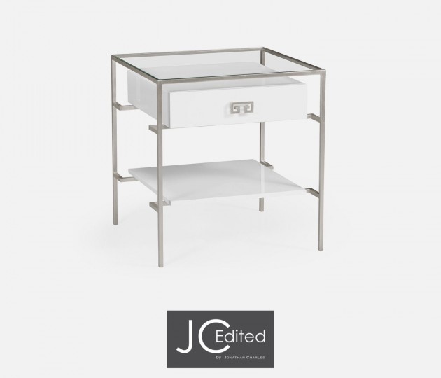 Silver Iron Side Table in Biancaneve