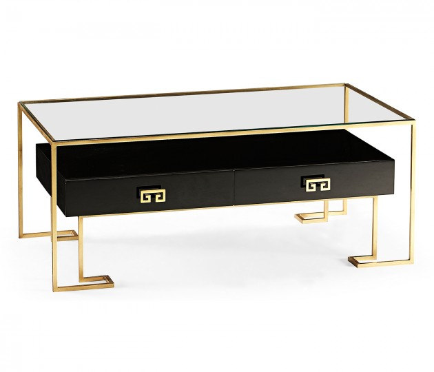 Gilded Iron Coffee Table in Smoky Black