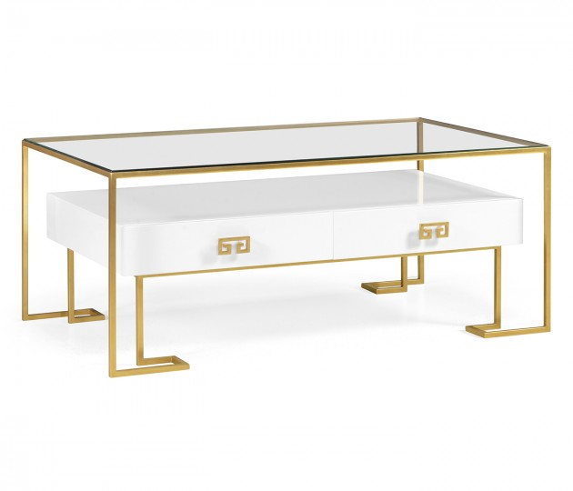 Gilded Iron Coffee Table in Biancaneve