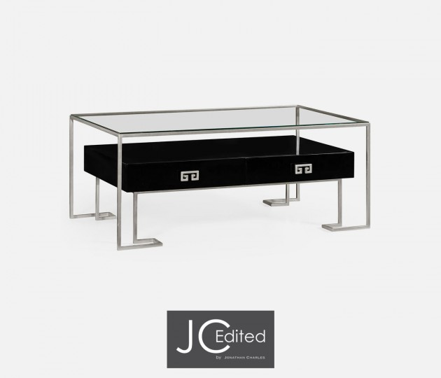 Silver Iron Coffee Table in Smoky Black