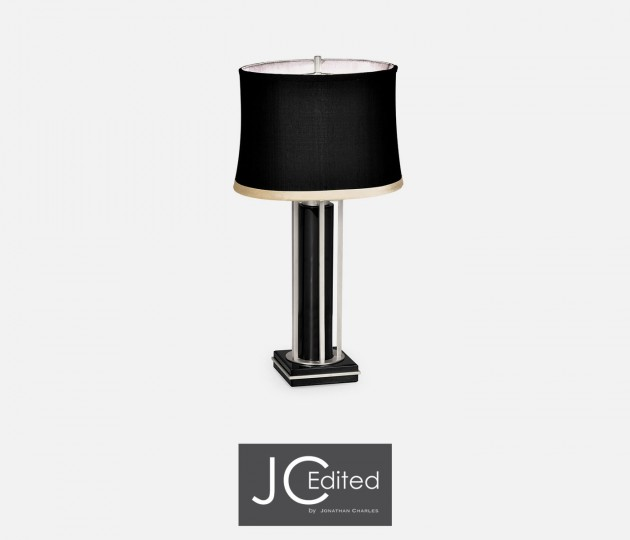Silver Iron Table Lamp in Smoky Black