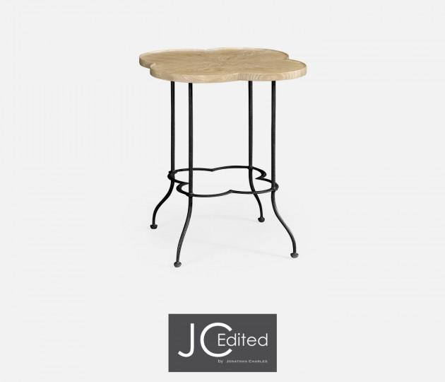 Quatrefoil Limed Chestnut Lamp Table