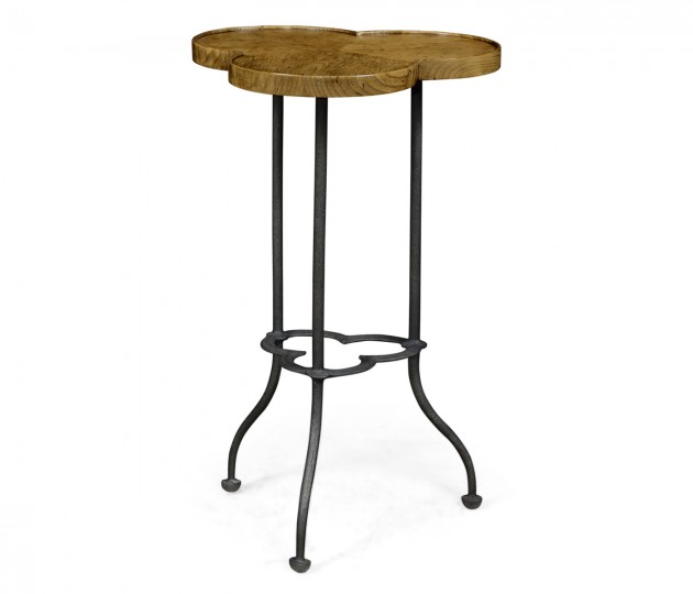 Trefoil Light Brown Chestnut Side Table
