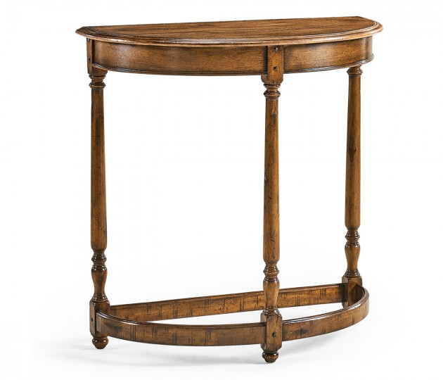 Country Walnut Demilune Console Table