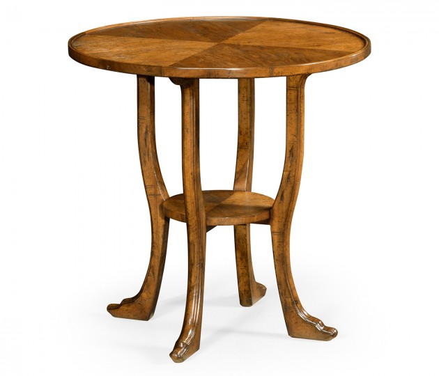 Country Walnut Round Lamp Table