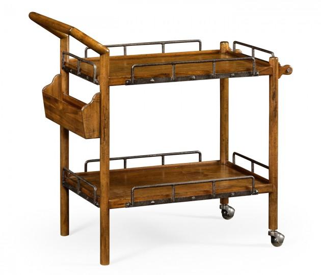 Country Walnut Bar Cart