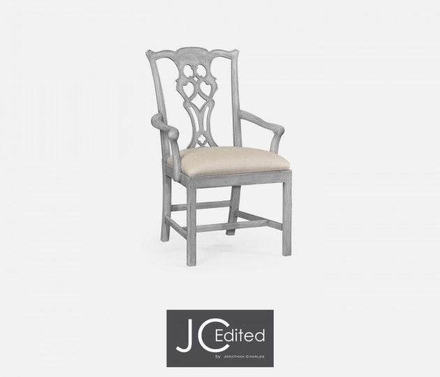 Grey Mahogany Chippendale Style Armchair, Upholstered in MAZO