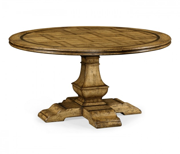 """60"""" Round Light Brown Chestnut Dining Table"""