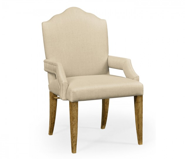 High Back Light Brown Chestnut Arm Chair, Upholstered in MAZO