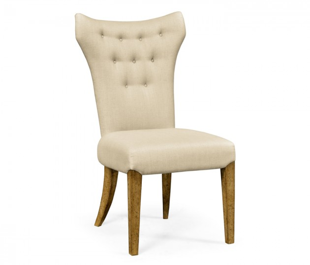 High Back Light Brown Chestnut Winged Side Chair, Upholstered in MAZO