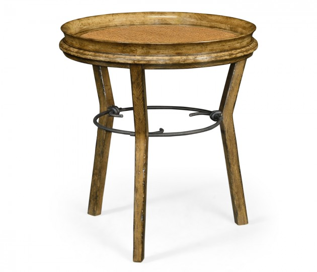 Round Light Brown Chestnut & Rattan Side Table