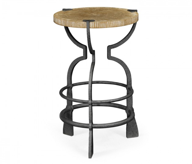 Round Limed Chestnut & Iron Wine Table