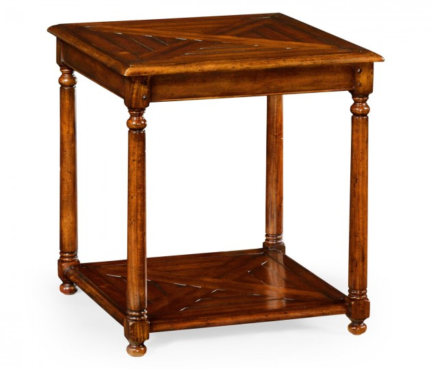 Square Parquet Topped Side Table with Undertier