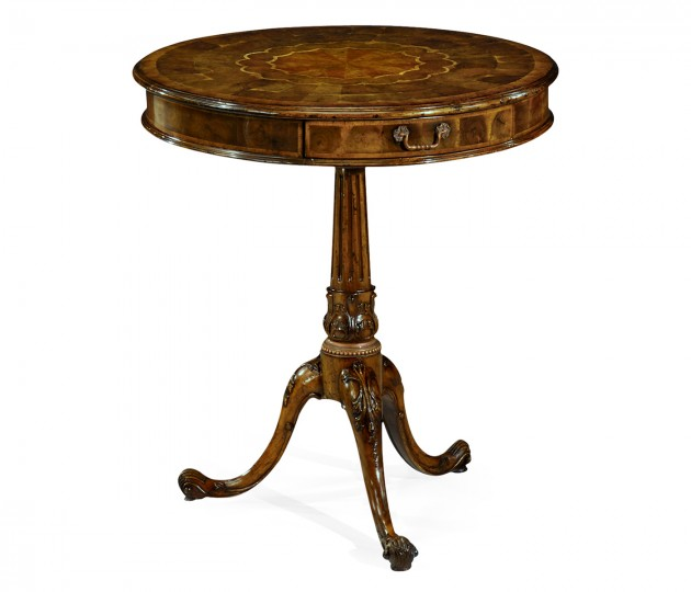 Oyster veneer lamp table