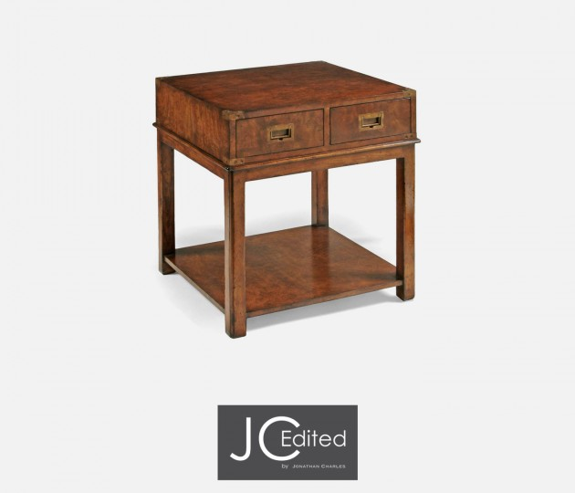 Campaign Walnut End Table