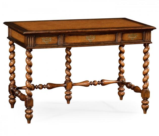 Leather & Walnut Turned Desk