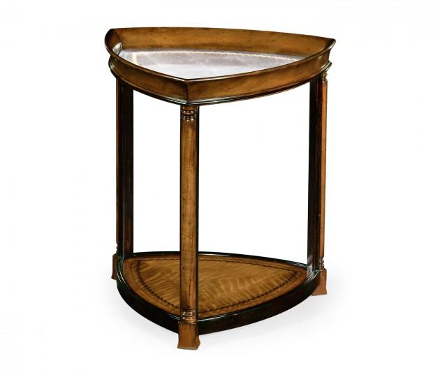 Walnut & églomisé triangular lamp table